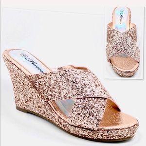 Forever Rosegold glitter Wedge Sandals NWOT